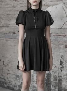 Steam Punk Female Heart Shaped Hollow High Waist Bow Dress