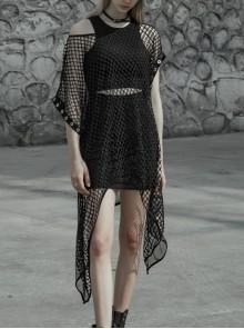 Steam Punk Female Black Mesh Hollow High Waist Irregular Hem Dress