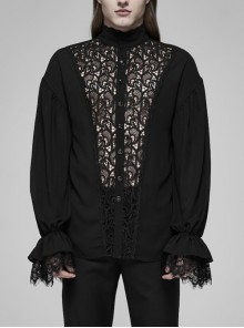 High Collar Front Hollow-Out Embroidery Lantern Sleeve Lace Cuff Black Gothic Light Woven Shirt