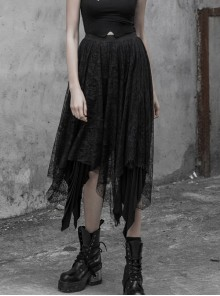Steam Punk Female Chiffon Lace Irregular Hem Pleated Skirt