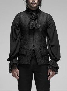 V-Neck Stand-Up Collar Back Hollow-Out Lace-Up Black Gothic Retro Three-Dimensional Jacquard Vest