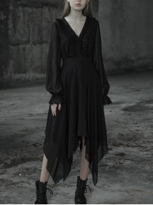 Gothic Female Black High Waist V-neck Long Chiffon Dress