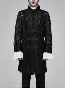 Stand-Up Collar Front Retro Pattern Ribbon Long Sleeve Black Gothic Lace Mesh Jacquard Coat