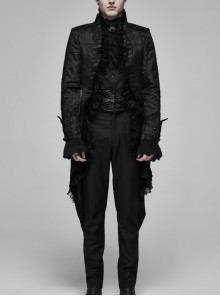 Stand-Up Collar Front Frill Lace Long Sleeve Dovetail Hem Black Gothic Coat