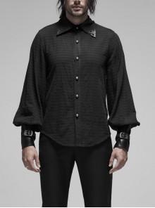Decal Collar Long Sleeve Splice Leather Cuff Black Punk Striped Shirt