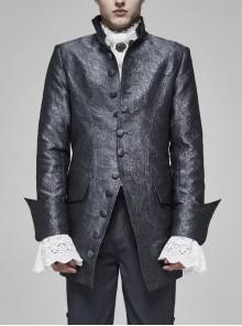 Stand-Up Collar Front Retro Button Slit Lace-Up Cuff Slit Hem Black Gothic Vintage Solid Jacquard Coat