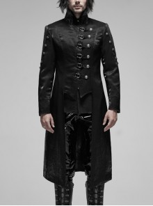 Stand-Up Collar Asymmetric Flaps Metal Retro Button Back Waist Lace-Up Black Gothic Coat