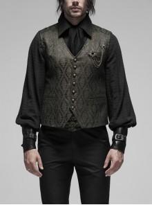 V-Neck Front Metal Retro Button Back Waist Metal Hasp Black Gothic Jacquard Vest