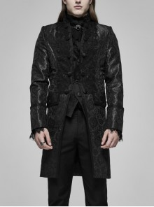 Stand-Up Collar Front Applique Button Long Sleeve Black Gothic Jacquard Coat