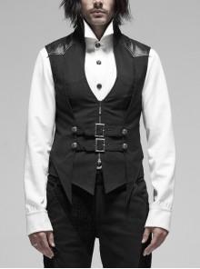 Stand-Up Collar Front Metal Hasp Metal Retro Button Back Waist Lace-Up Black Punk Stripe Vest
