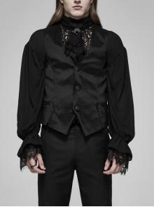 Front Button Side Applique Ribbon Ornament Back Waist Metal Hasp Slit Hem Black Gothic Vest