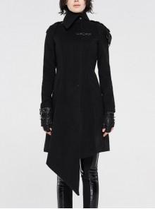 High Collar Leather Hasp Shoulder Metal Button Back Waist Lace-Up Black Punk Woolen Coat