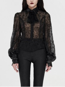 Applique Collar Front Chest Lace Frill Lantern Sleeve Back Waist Lace-Up Black Gothic Chiffon Flocking Blouse