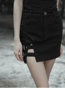 Steam Punk Female High Waist Elastic Metal Buckle Slim Fitting Skirt