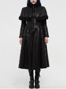 High Collar Small Cloak Decals Back Waist Lace-Up Black Gothic Imitation Fur Long Coat