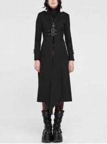 High Collar Metal Rivet Shoulder Epaulets Front Metal Hasp Long Sleeve Black Punk Twill Long Jacket