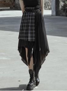 Punk Female Black Chiffon Lattic Stitching Belt Skirt