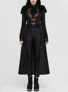 Fur Collar Front Leather Hasp Back Waist Lace-Up Black Punk Three-Dimensional Jacquard Long Coat