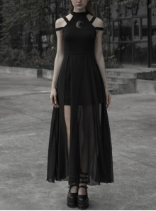 Gothic Female Black Lunar Printed Mesh Stitching Long Dress