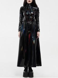 High Collar Front Metal Zipper Lace-Up Long Sleeve Black Punk Bright Laser Long Coat
