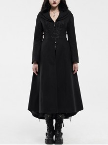 Fur Collar Front Embroidery Black Gem Pendant Long Sleeve Back Waist Lace-Up Black Gothic Long Wool Coat