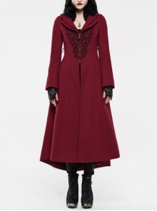 Fur Collar Front Embroidery Black Gem Pendant Long Sleeve Back Waist Lace-Up Red Gothic Long Wool Coat