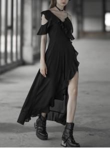 Punk Female Dark Lotus Leaf Irregular Hem Off-the-shoulder Chiffon Long Dress
