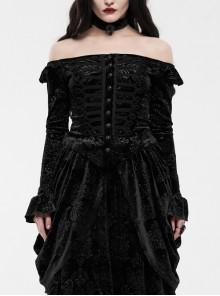 One-Work Collar Gem Choker Long Sleeve Flare Cuff Back Waist Lace-Up Black Gothic Embossed Velvet Blouse
