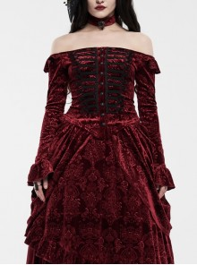 One-Work Collar Gem Choker Long Sleeve Flare Cuff Back Waist Lace-Up Wine Red Gothic Embossed Velvet Blouse