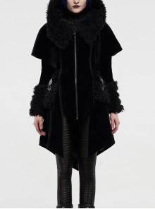 Fur Collar Small Cloak Metal Buckle Cuff Black Gothic Weft Velvet Hooded Coat