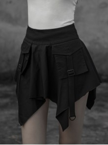 Steam Punk Female Casual Black High Waist Buckle Mini Skirt