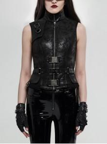 High Collar Metal Buckle Strap Back Waist Lace-Up Black Punk Crack Fur Integrated Waistcoat