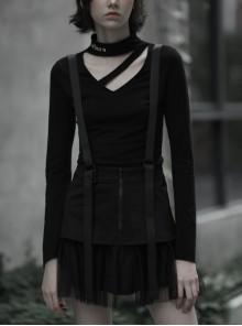 Steam Punk Female Black Casual Mesh Stitching Braces Skirt