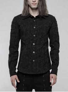 Front Metal Skull Button Long Sleeve Black Punk Jacquard Shirt