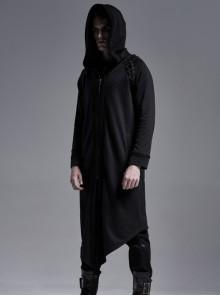 Shoulder Metal Eyelets Lace-Up Long Sleeve Slit Hem Black Punk Knitted Soft-Skin Hooded Coat