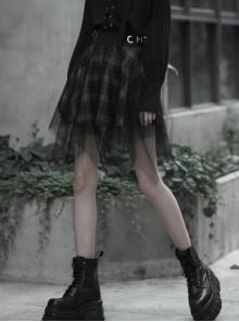 Steam Punk Female Casual Lattic Plaid Mesh Stitching Skirt