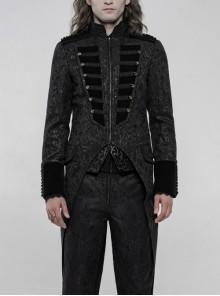 High Collar Front Chest Breasted Decoration Dovetail Hem Black Gothic Jacquard Splice Weft Velvet Coat