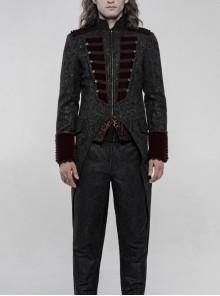 High Collar Front Chest Wine Red Breasted Decoration Dovetail Hem Black Gothic Jacquard Splice Weft Velvet Coat