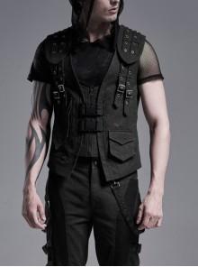 Front Zipper Metal Eyelets Strap Black Punk Vest