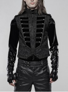 Stand-Up Collar Front Chest Breasted Decoration Black Gothic Jacquard Splice Weft Velvet Vest