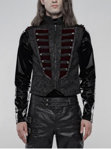 Stand-Up Collar Front Chest Wine Red Breasted Decoration Black Gothic Jacquard Splice Weft Velvet Vest
