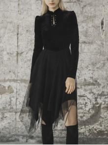 Gothic Female Black Velvet Mesh Stitching Elastic Dress