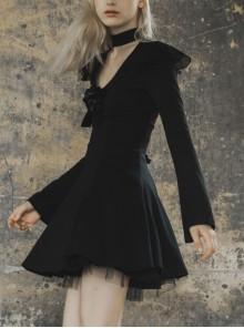 Gothic Female Dark V-neck Hollow High Collar Binding Dress