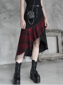 Steam Punk Female Lattice Mesh Stitching Irregular Hem Skirt