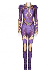 Titans Season 3 Starfire Koriand'r Purple Battle Suit Halloween Cosplay Costume Set