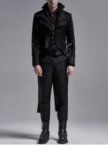 Multilayer Collar Front Metal Button Slit Hem Black Gothic Three-Dimensional Jacquard Coat