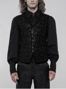 Front Metal Retro Button Back Waist Metal Hasp Black Gothic Jacquard Vest