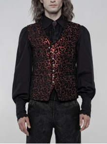 Front Metal Retro Button Back Waist Metal Hasp Black And Red Gothic Jacquard Vest