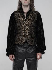 Front Metal Retro Button Back Waist Metal Hasp Black And Gold Gothic Jacquard Vest