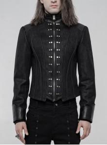 High Collar Front Metal Rivet Long Sleeve Black Punk Short Coat